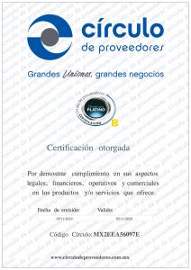 Certificado Círculo de Proveedores